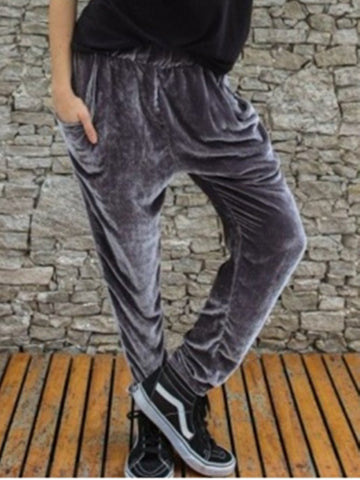 Gray Velvet Casual Pants
