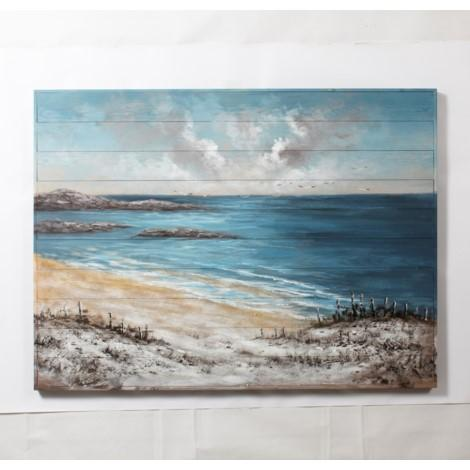 BEACH VIEW WALL ART HAND PAINTED ON WOOD