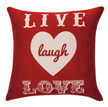 Deco ''Live,laugh,love'' red cushion