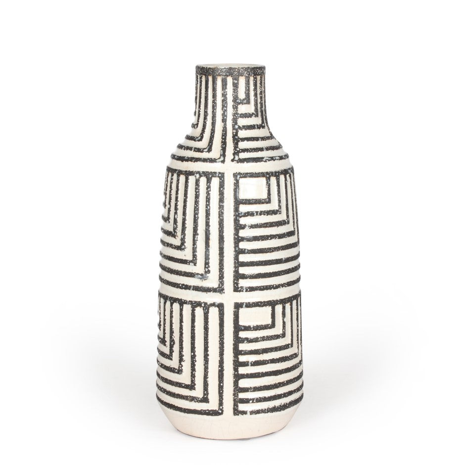 Black and White Pattern Vase