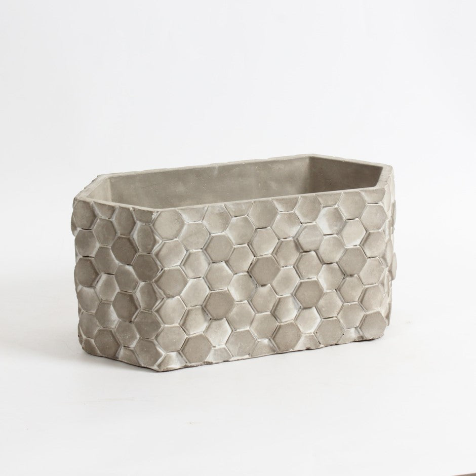 Hexagon Cement Oval Planter