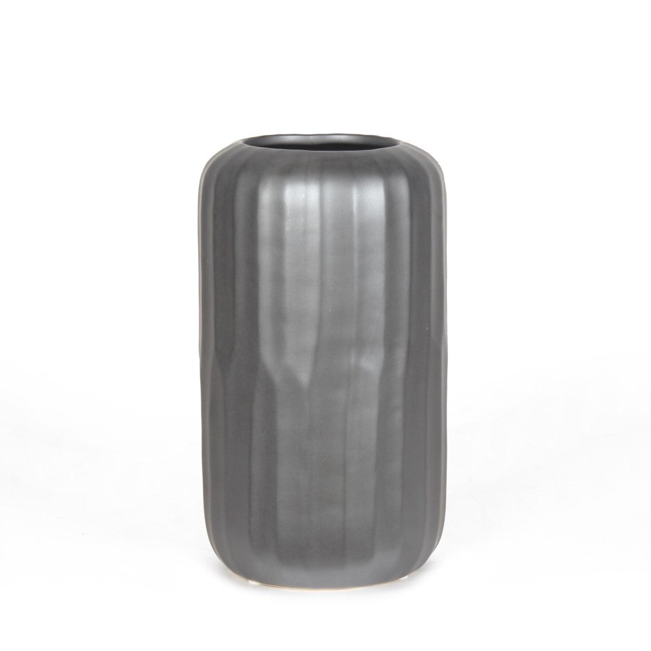 tall round metallic vase