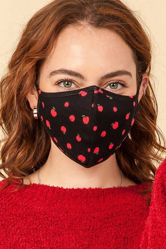 Cotton Face Mask /w Red Apple Print