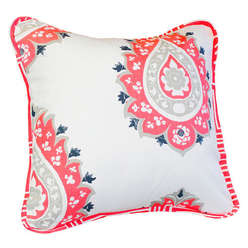 CORALEE Baby Nursery Pillow - Coral Damask - Madison Mackenzie Home