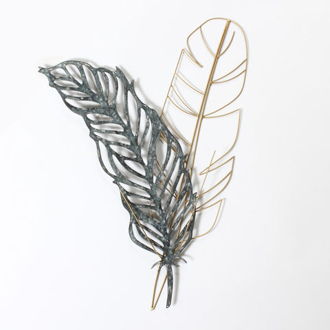 2 Feathers Metal and Wire Wall Art