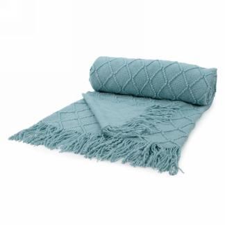 Aqua Knit Throw with Fringe