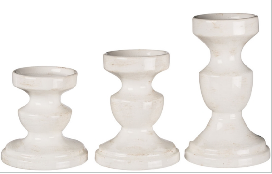 Set of 3 Candle Pillar - White - Madison Mackenzie Home