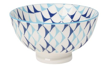 Stamped Bowl Blue Triangles  4 inch