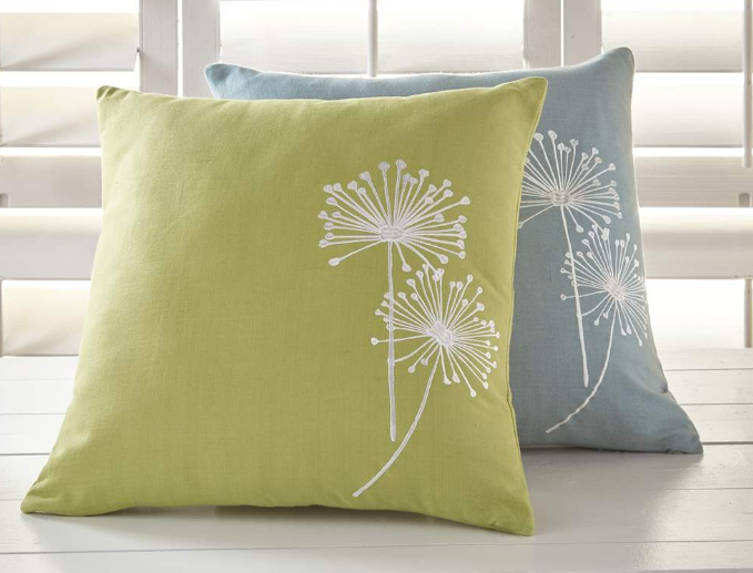 Pillow Embroidered Allium Green - Madison Mackenzie Home
