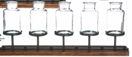 Rustic Five Bottled Vase on Stand - Madison Mackenzie Home