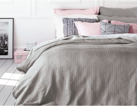Chanel grey quilted duvet cover