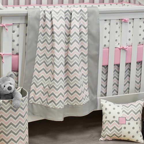 CHEVRON PINK Baby Crib Blanket With Border - Madison Mackenzie Home