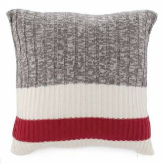 Grey knit cushion with red band