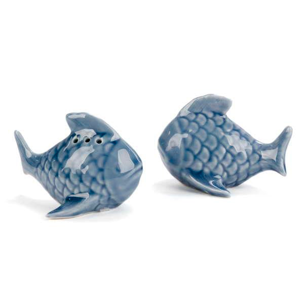 Blue fish salt & pepper shaker set
