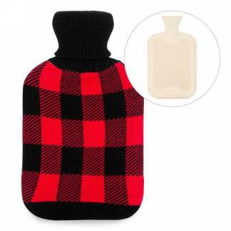 Hot water bottle with plaid knit cover