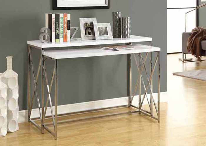 CONSOLE TABLE – 2PCS / GLOSSY WHITE WITH CHROME METAL