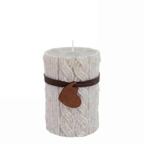 Beige wool motif pillar candle 3x4