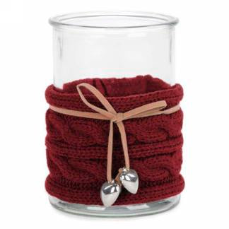 "5.5"" Candle holder with red knit band"