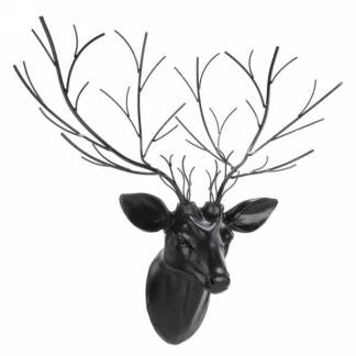 Black deer head wall decor