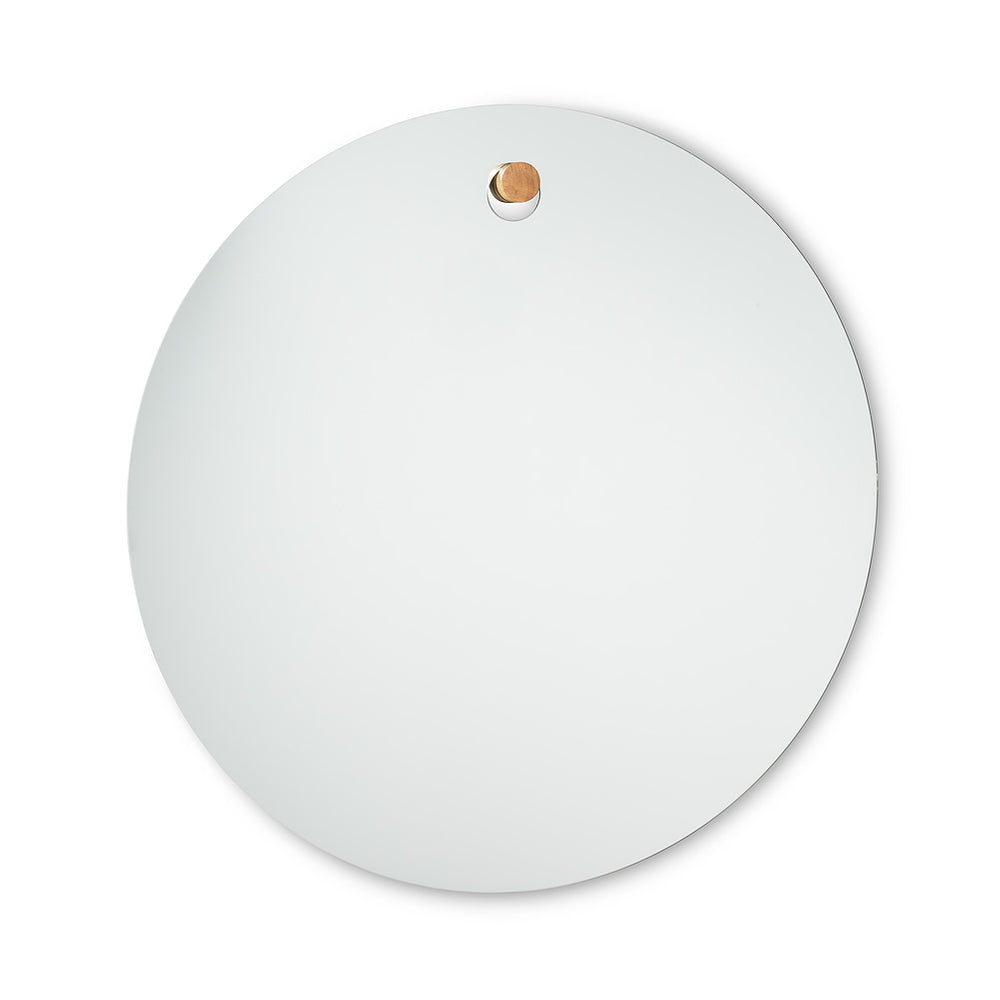 Large Round Mirror with Plug Hanger