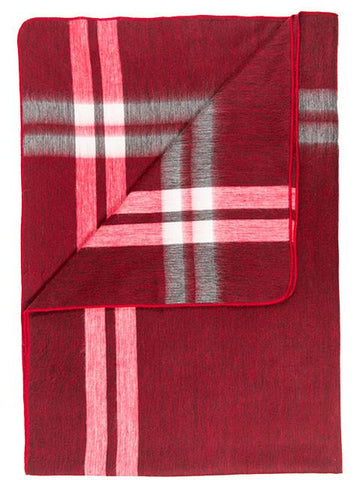 Alpaca Throw - Cranberry Tartan