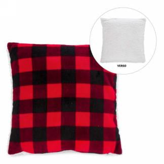 Red plaid cushion with faux fur reverse