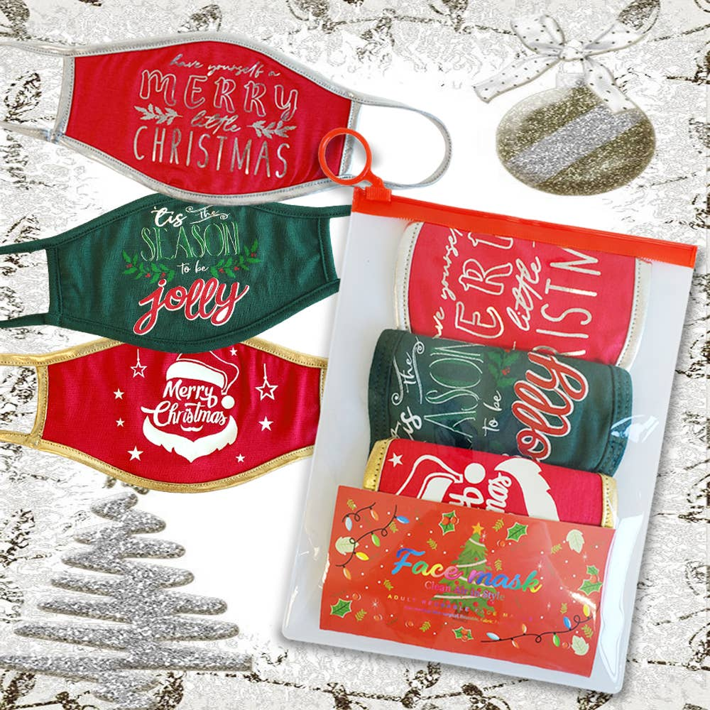 Christmas Face Mask Set w/Pouch