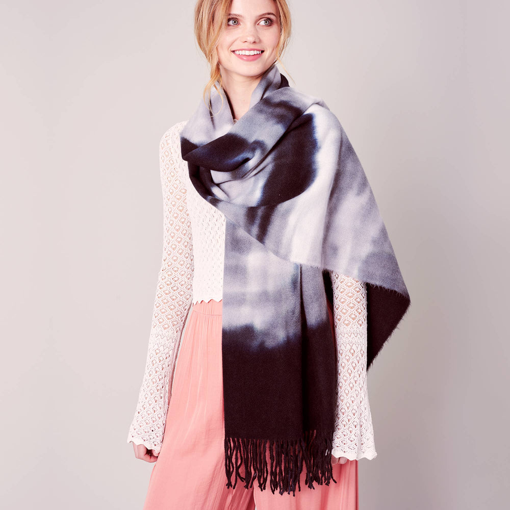 Tie-dye Print Fringed Long Scarf