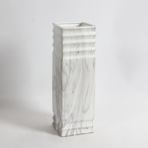 "15""H MARBLE LOOK SQ CERAMIC VASE"