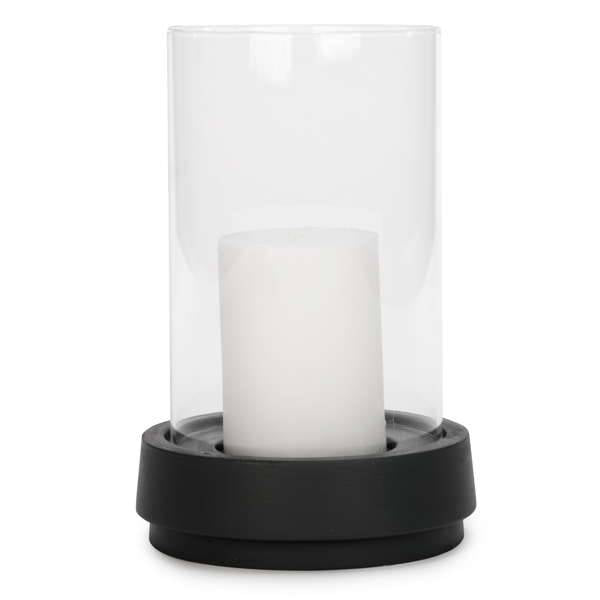 Candle with glass on grey base