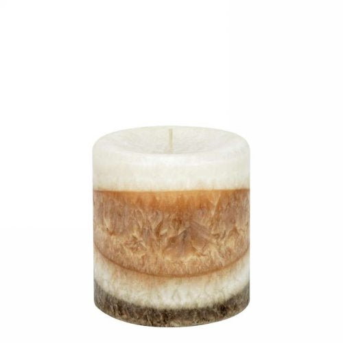 Brown striped Exotic Wood candle 4x4