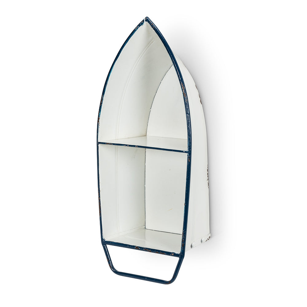 White/Blue Boat Wall Shelf