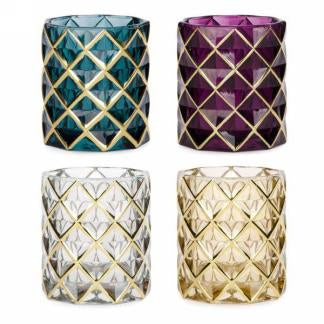 4MOD Glass candle holder with gold trim