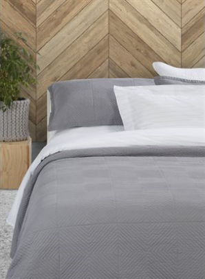 Francisco grey quilted d/queen duvet cover + 2 shams