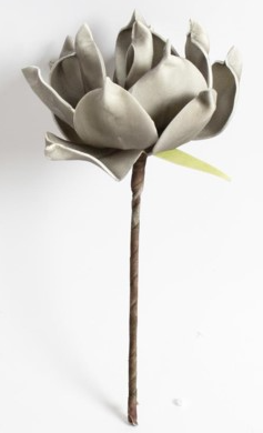 2 Tone Grey/White Flower - Short Stem