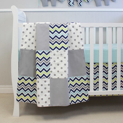CHEVRON NAVY Baby Crib Blanket - Patchwork Style