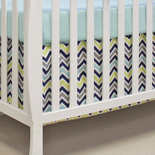 CHEVRON NAVY 2 PC Set Crib Bedding - Madison Mackenzie Home