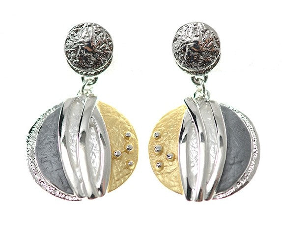 Yellow and Grey Circle Earrings