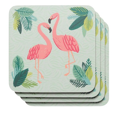 Flamingos Cork-Backed Coasters - Set of 4