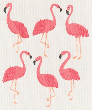 Flamingos Sweedish Dishcloth