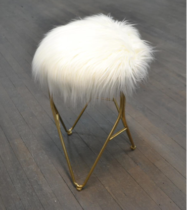 Metal Stool With Faux Fur