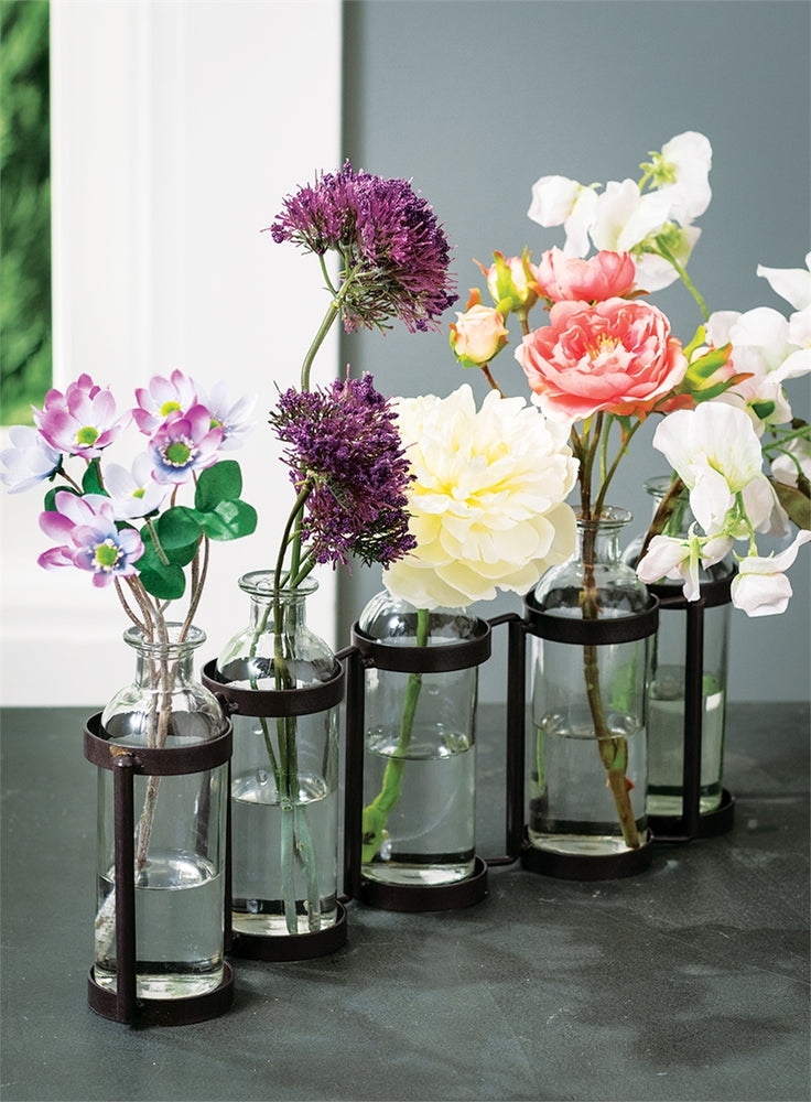 Set of 5 Vases in Holder - Madison Mackenzie Home
