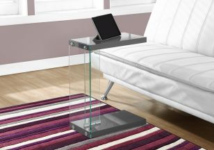 Grey Glossy Table with Tempered Glass