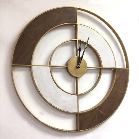 Gold and Wood Wall Clock