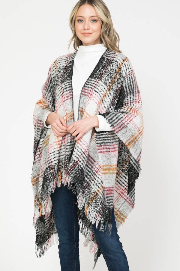 PLAID OPEN FRONT SHAWL PONCHO TASSEL KNITTED CARDIGAN