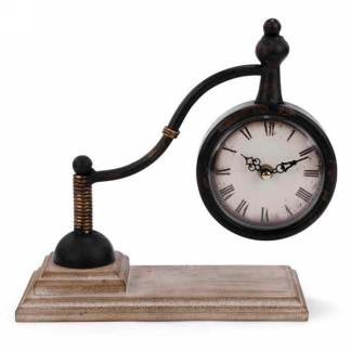 Metal Table Clock on Natural Base