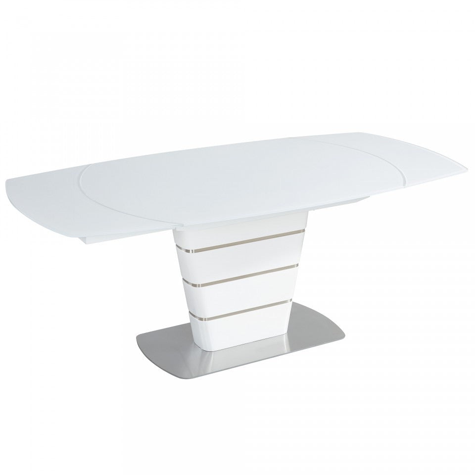 White Glass Top Extension Table