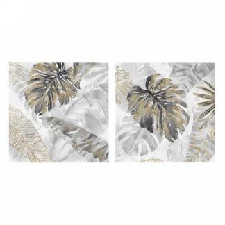 Gold and Grey Leaves on Canvas - 2 styles
