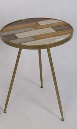 3 Legged Gold Table with Wooden Inlay