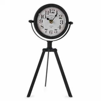 Metal Table Clock with Tripod Base